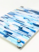 Modern Acrylic  Shades of Blue Paint Stripes Board