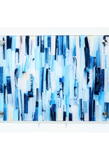 Modern Acrylic  Shades of Blue Paint Stripes Board