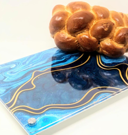 Modern Acrylic Teal Marble Waves Board