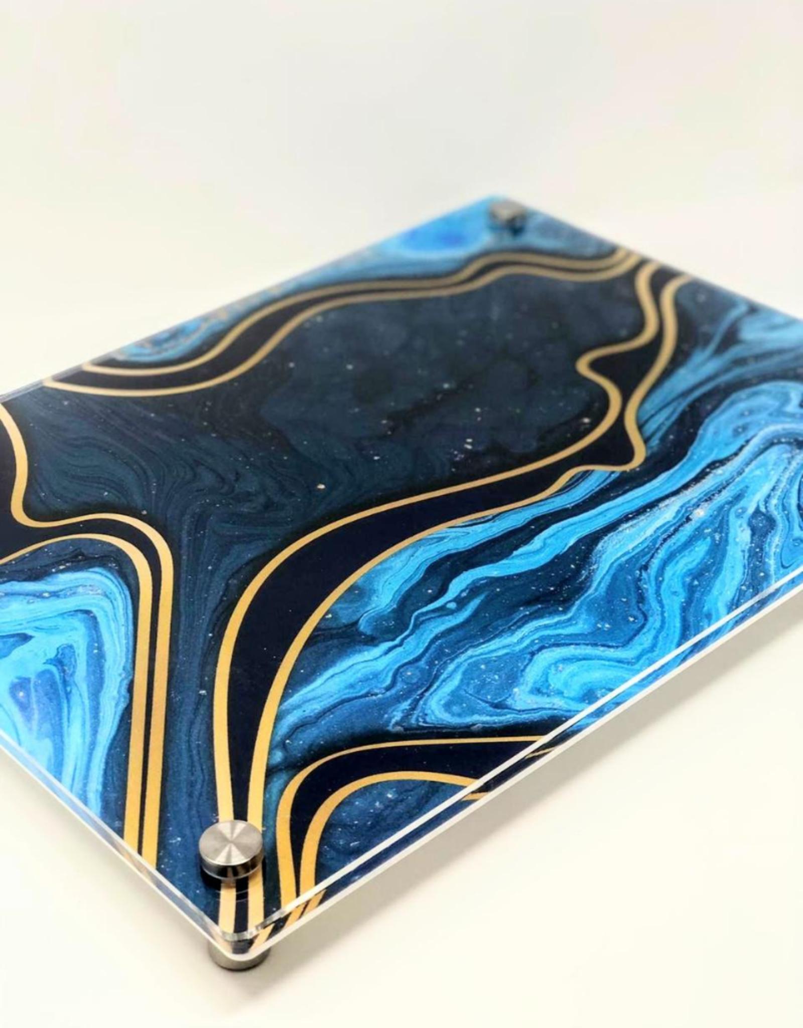 Modern Acrylic Teal Marble Waves Board