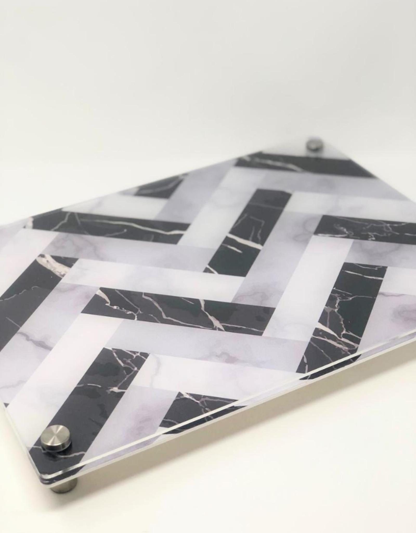 Modern Acrylic Tray Black White & Grey Herringbone