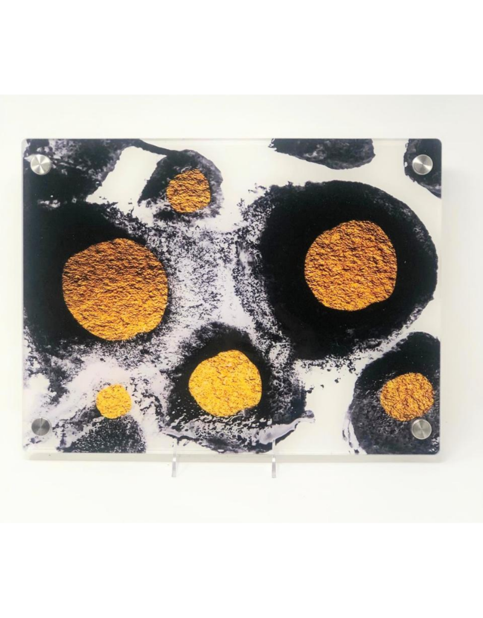 Modern Acrylic Black White & Gold Abstract Dots Board