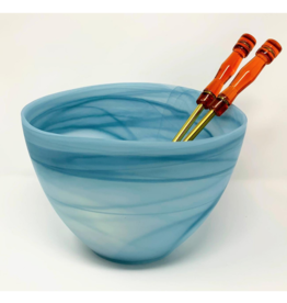 Small Frosted Slanted Bowl Turquoise