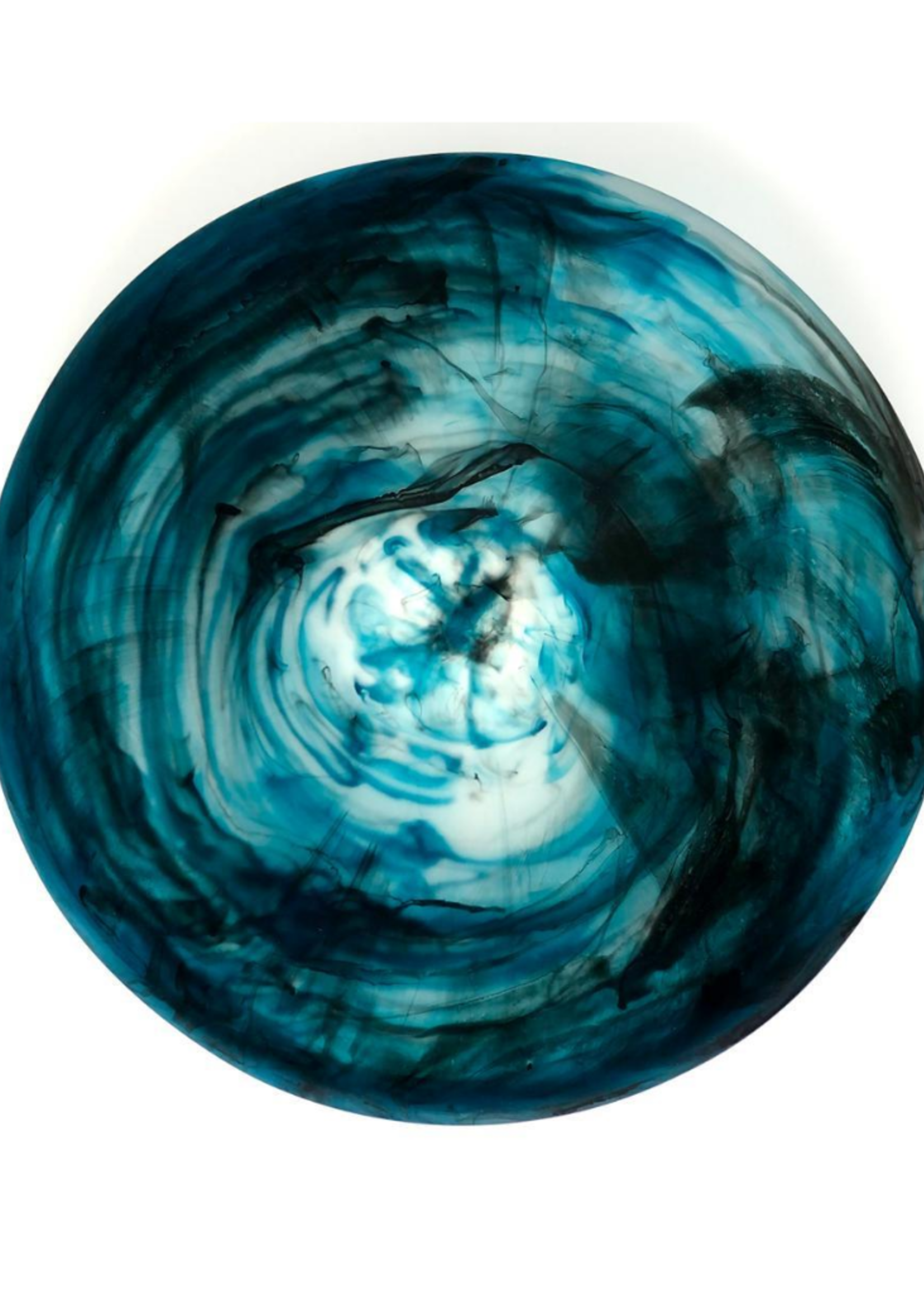 Teal Swirl Medium Bowl With Servers