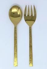 Hammered Gold Salad Servers
