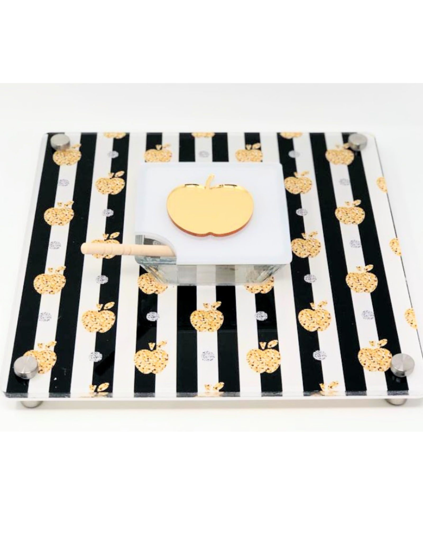 Striped Honey Cup Tray Black & Gold