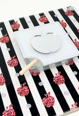Striped Honey Cup Tray Black & Red
