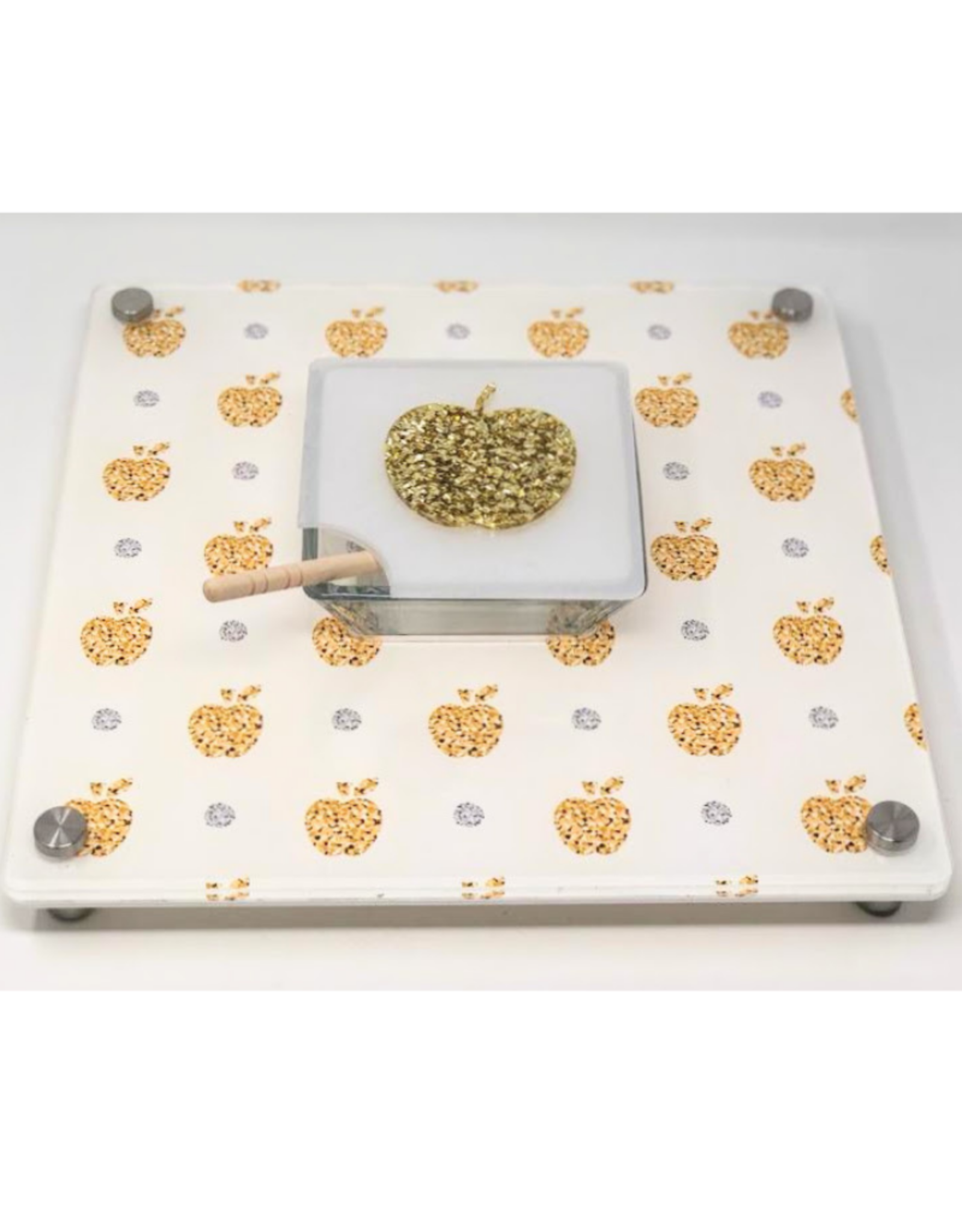 Apple Bling Honey Cup Tray Silver & Gold