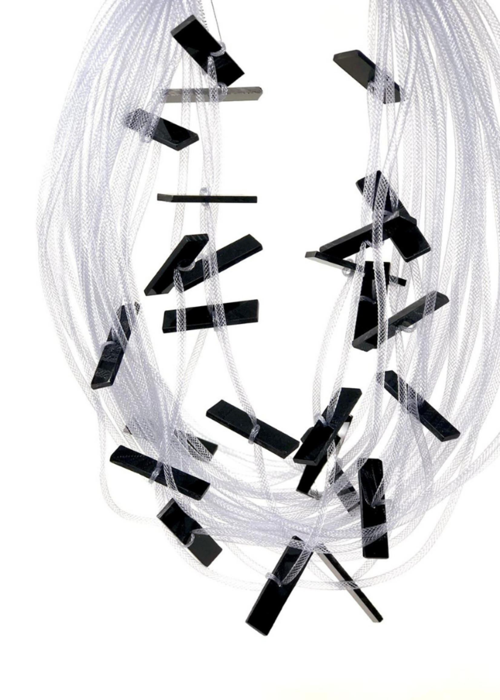 Multi-strand Grey and Black Resin Chips Necklace
