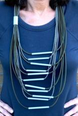 CHRISTINA BRAMPTI Long Olive Multi Strand Necklace with Aluminum Tubes