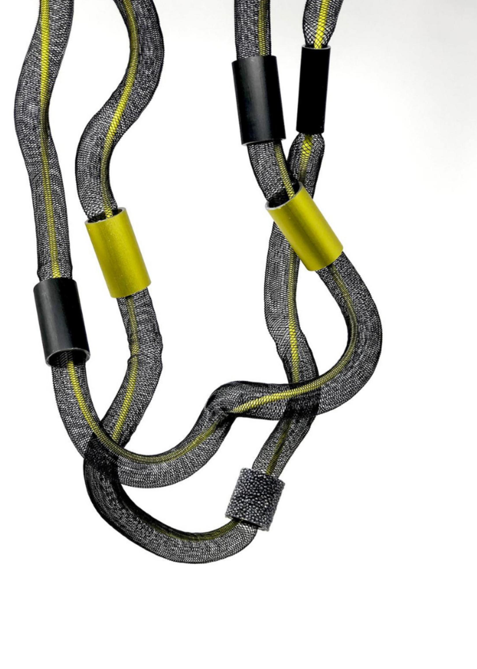 Long Freeform Tulle & Aluminum Necklace
