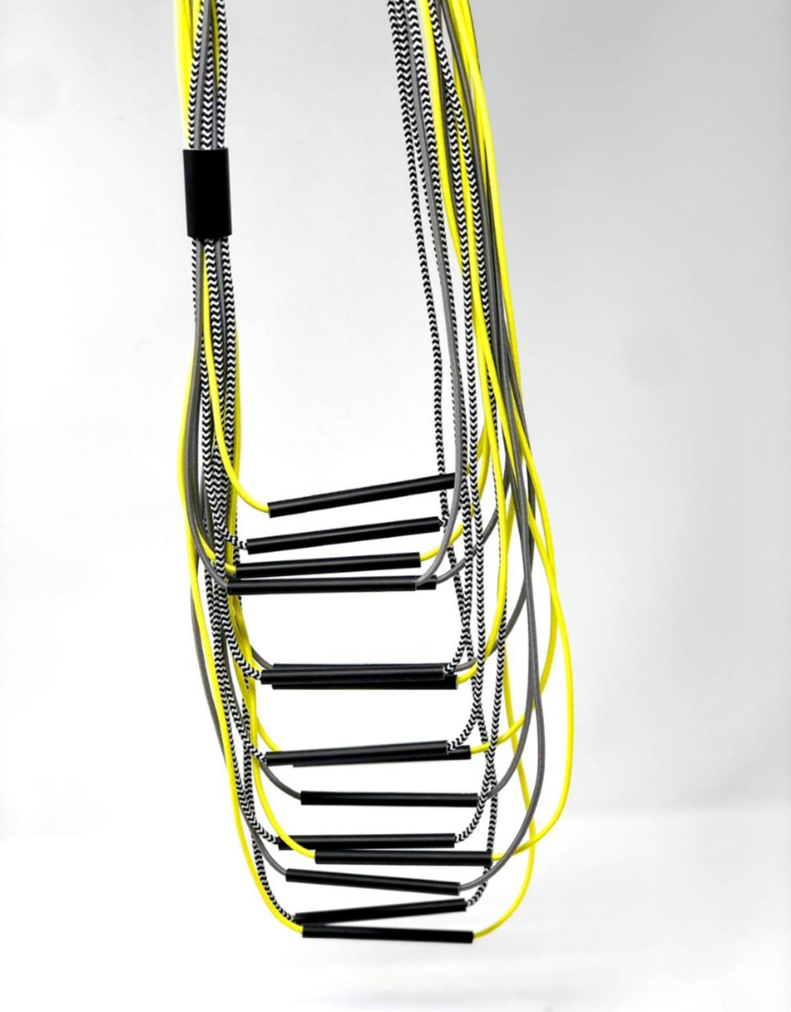 CHRISTINA BRAMPTI Long Neon Multi Strand Necklace with Aluminum Tubes