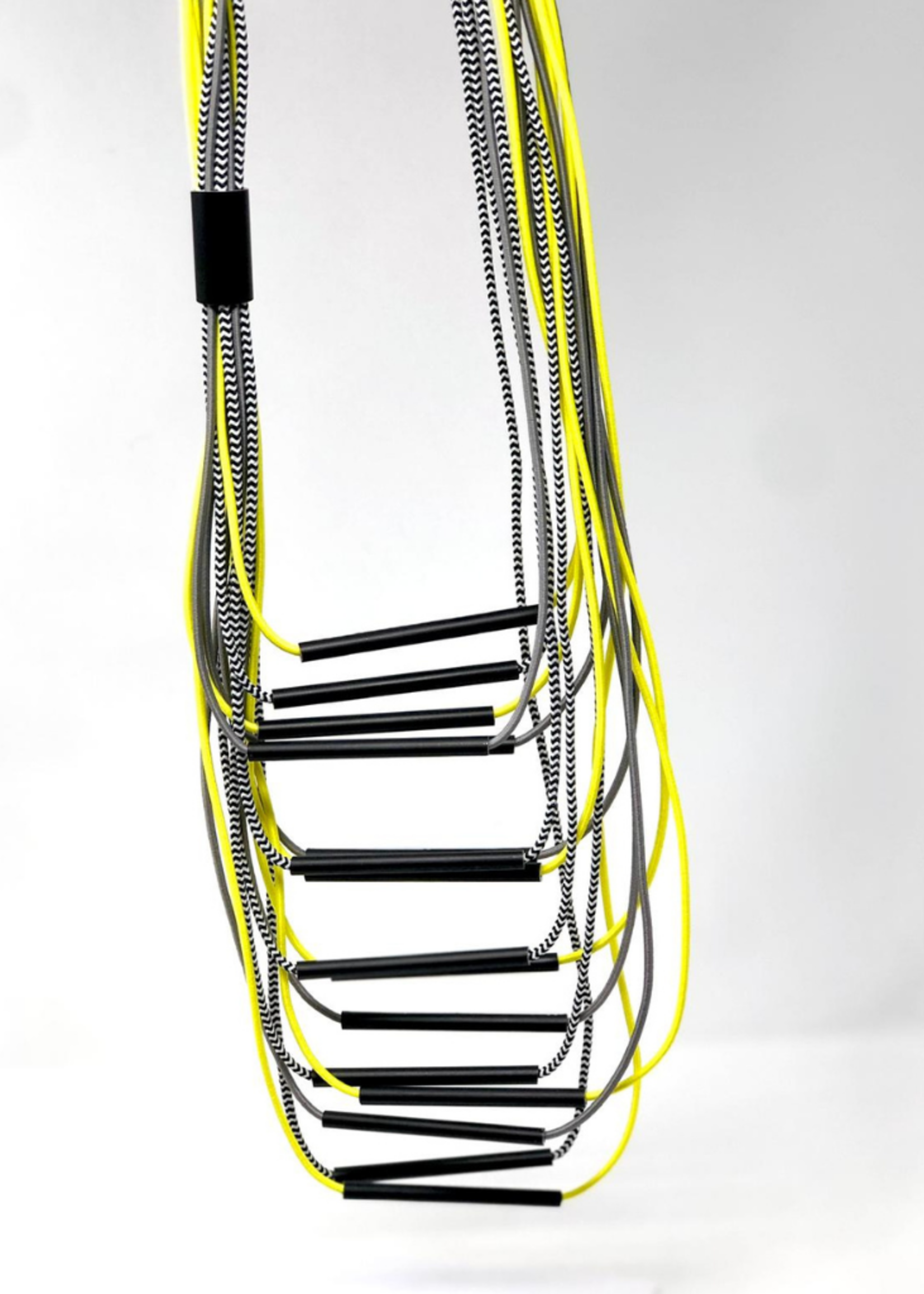 Long Neon Multi Strand Necklace with Aluminum Tubes