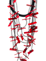 Tulle Tubes and Red Plexi Bars Necklace