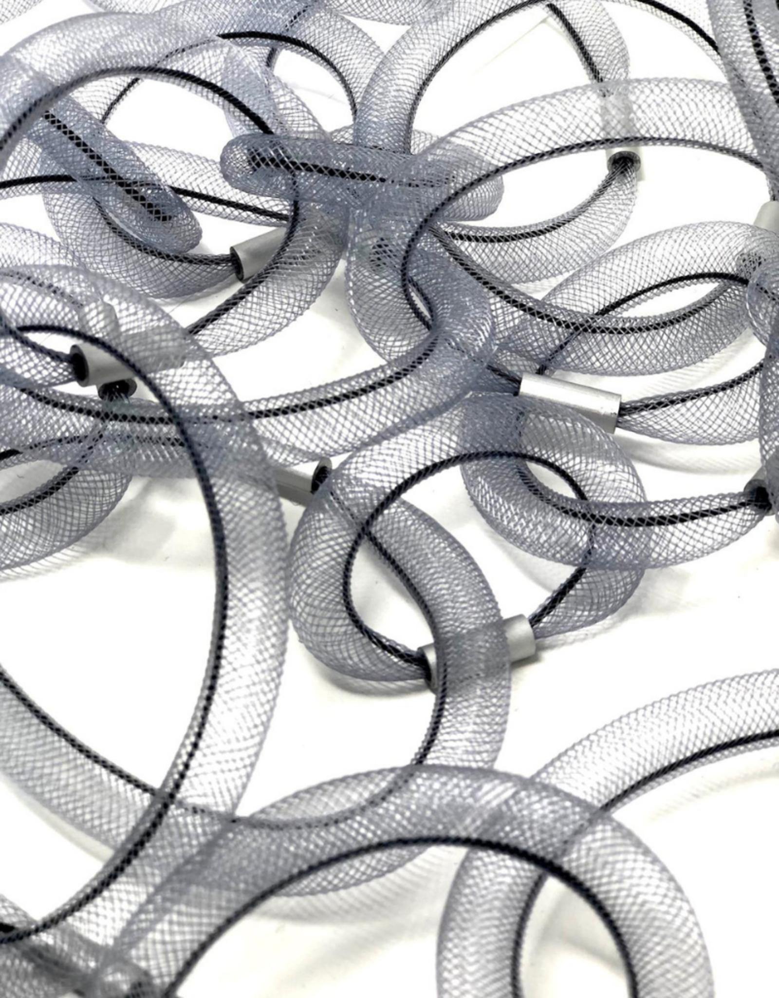 Linked Tube Necklace Grey