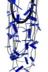 Tulle Tubes and Blue Plexi Bars Necklace