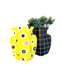 Mini Paper Vase Geometric Black