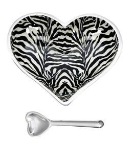 Zebra Heart Bowl & Spoon