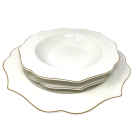 Arrendale New Bone Gold 12 Piece Dinnerware Set