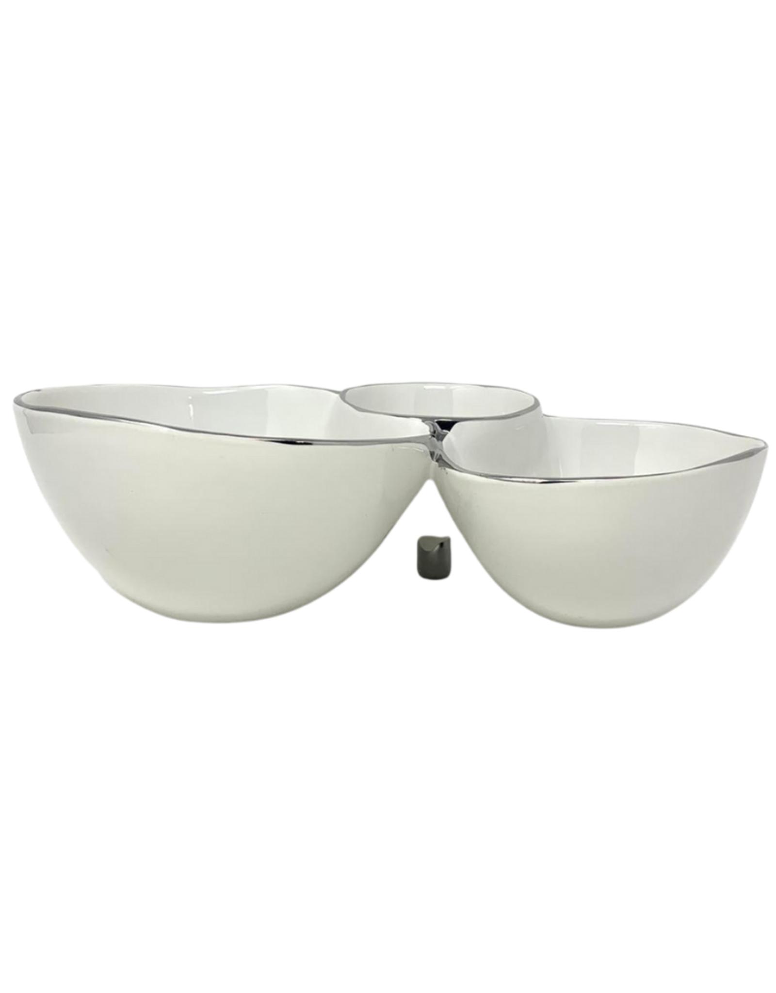 3 Section White Porcelain Server