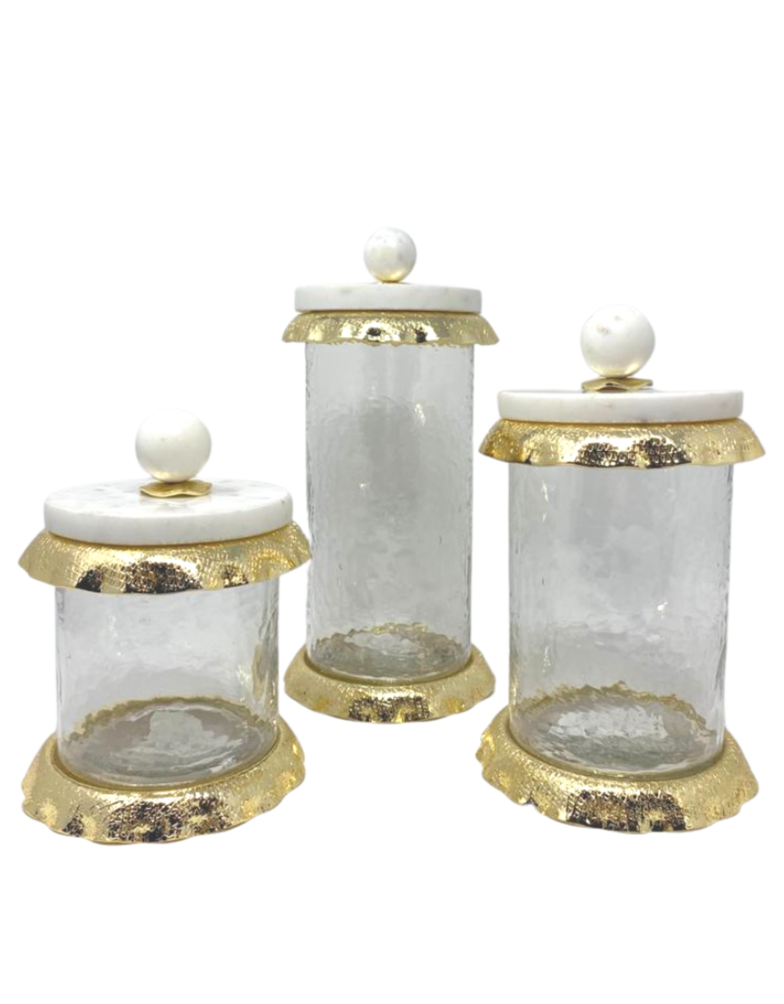 Medium Glass & Marble Canister