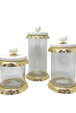 Large Glass & Marble Canister