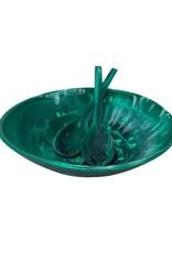 Nashi Home Everyday Medium Bowl with Servers Set Emerald Green Swirl
