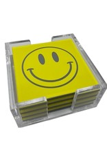Coaster Set 4 Piece w/ Base Smiley Face