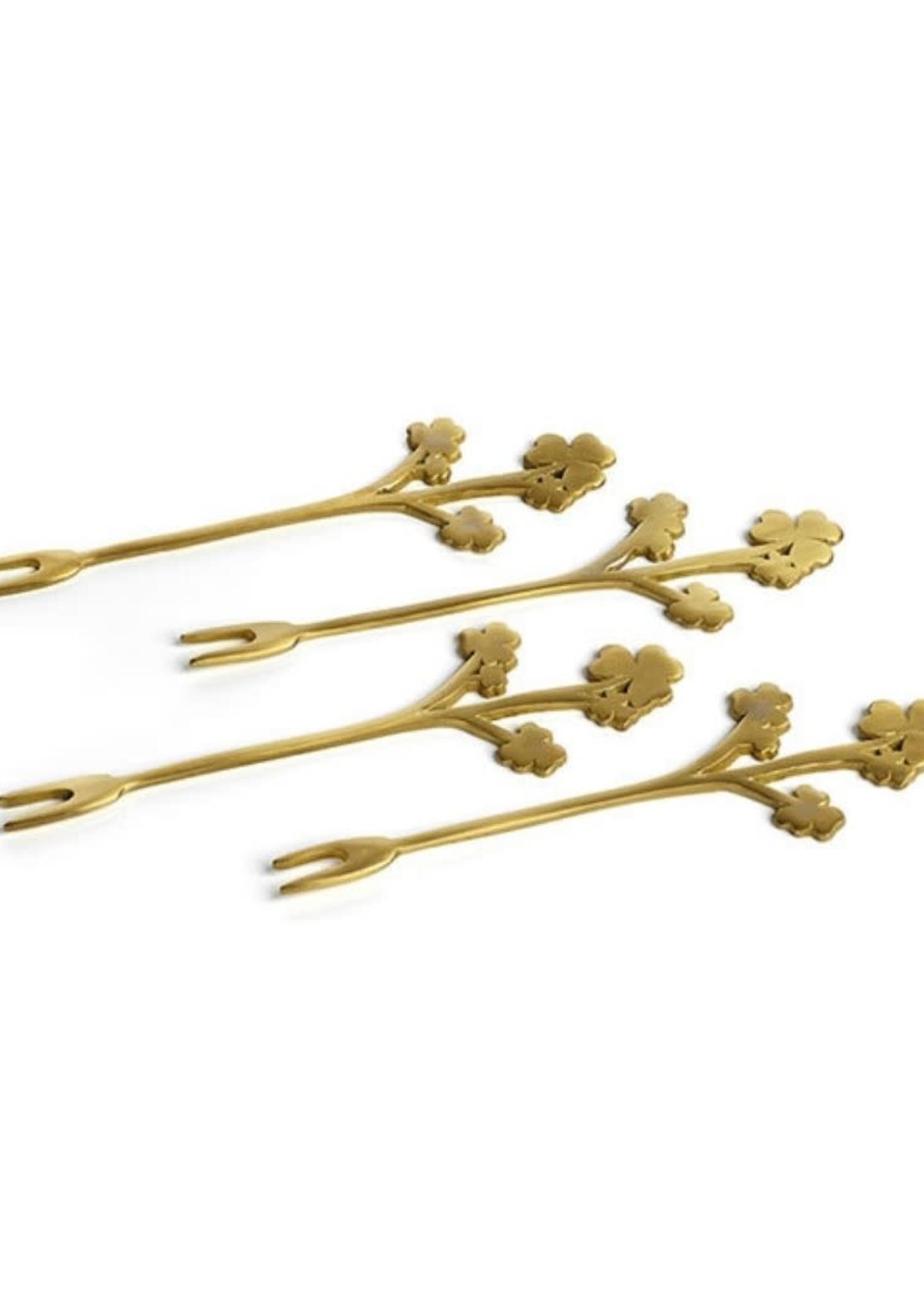 Little Flowers Cocktail Fork- Matte Gold