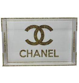Acrylic Design Tray Gold Chanel Sparkle