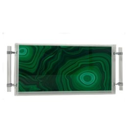 Assorted Prints Acrylic Tray with Handles-Green Malachite