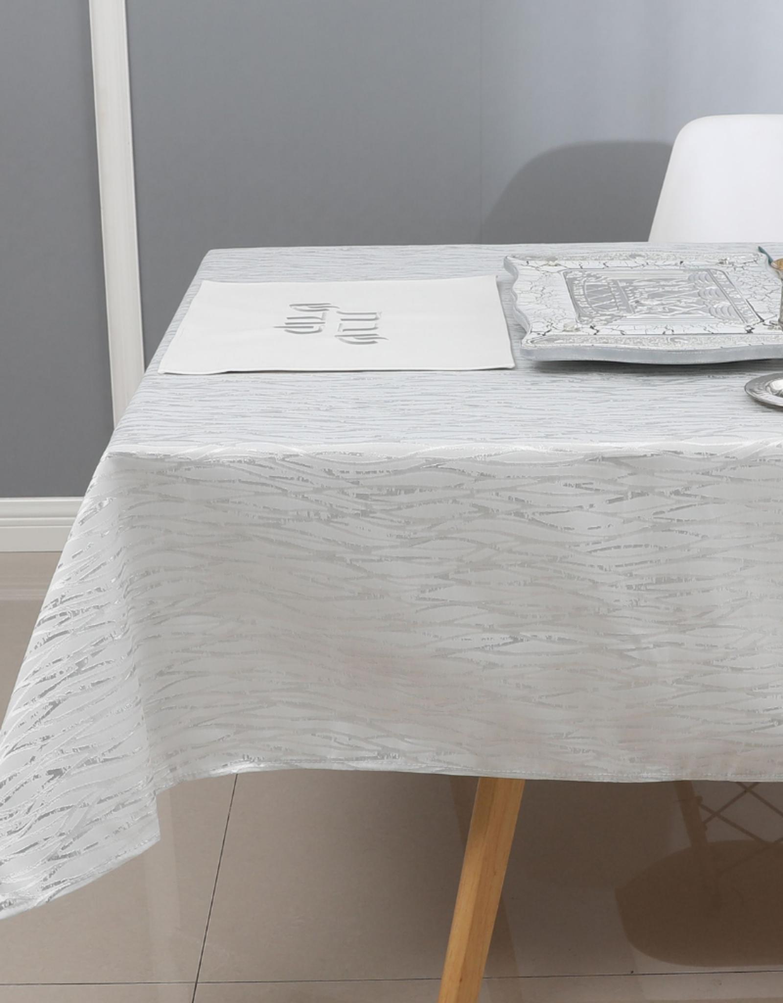 Jacquard Tablecloth White & Silver TC1317