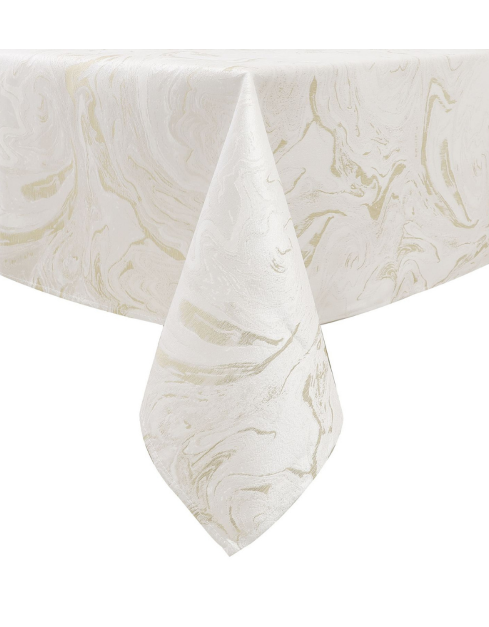 Jacquard White & Gold Wave Tablecloth #1327