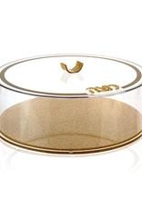 Waterdale Round Matzah Box - Gold