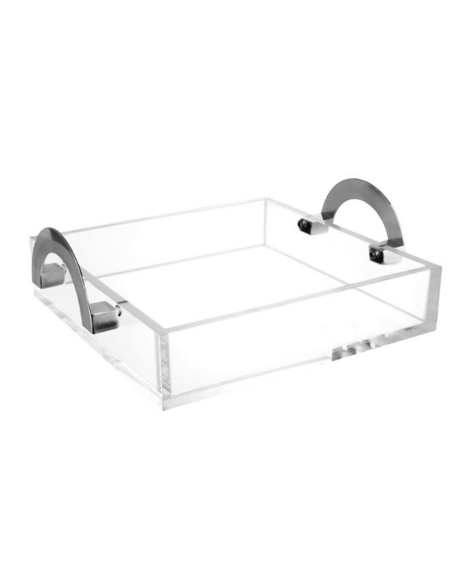 """Waterdale Lux Square 9"""" Tray-Silver Handles"""