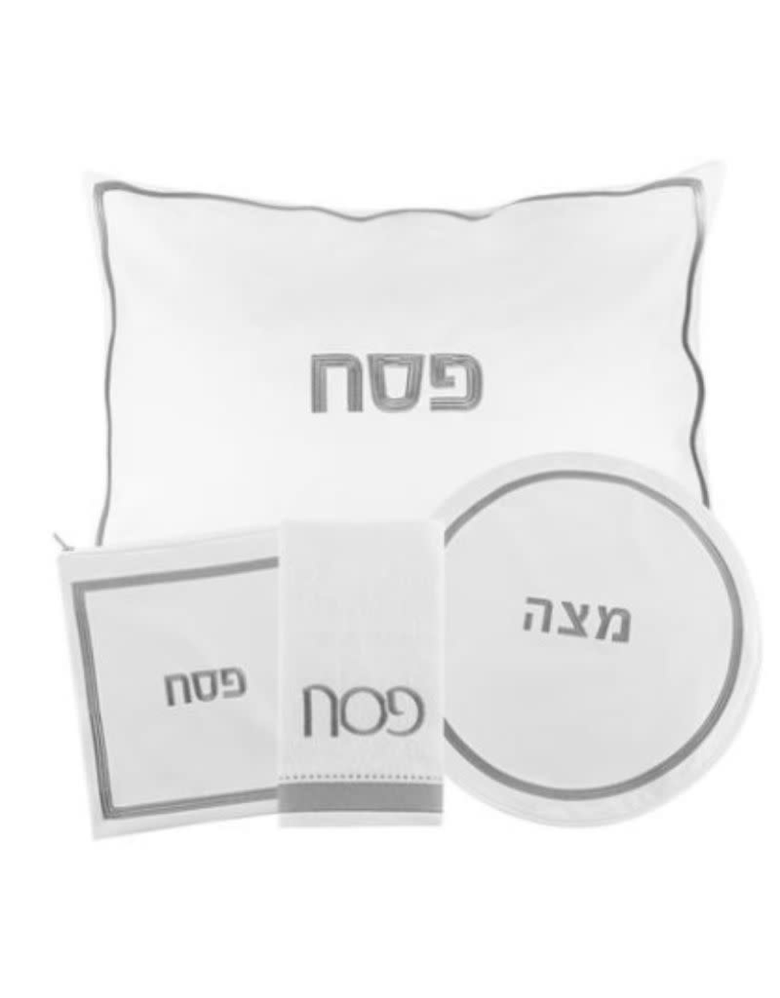 Waterdale PU Leather Pesach Set Hotel White/Silver PU-PS-HS-W/S