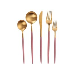 Vera Two Tone Pink & Gold Flatware 20 pc Set