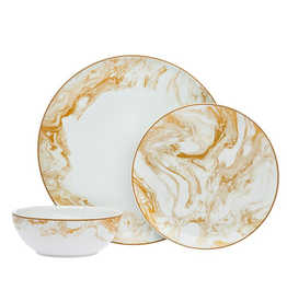Abstract Gold 3 Piece Dinnerware Setting