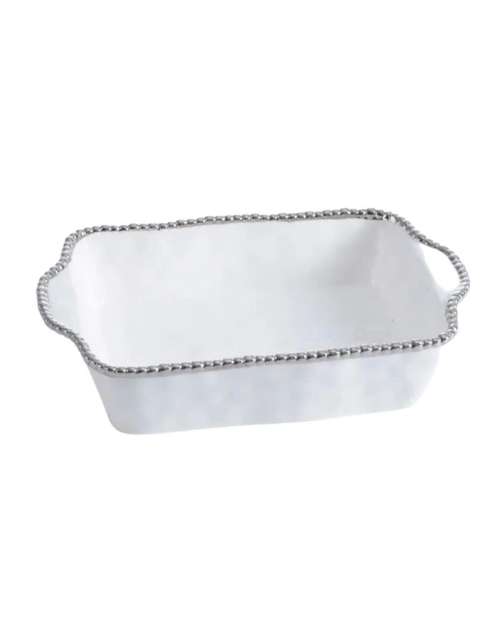 Pampa Bay Rectangular Baking Dish- White/Silver