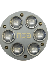 Round Steel Silver Magnetic Seder Plate & Cups