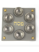Square Steel Silver Magnetic Seder Plate & Cups