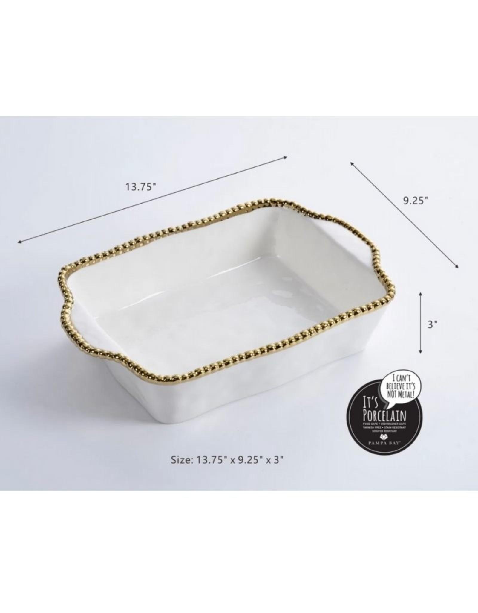 Rectangular Baking Dish-White/Gold