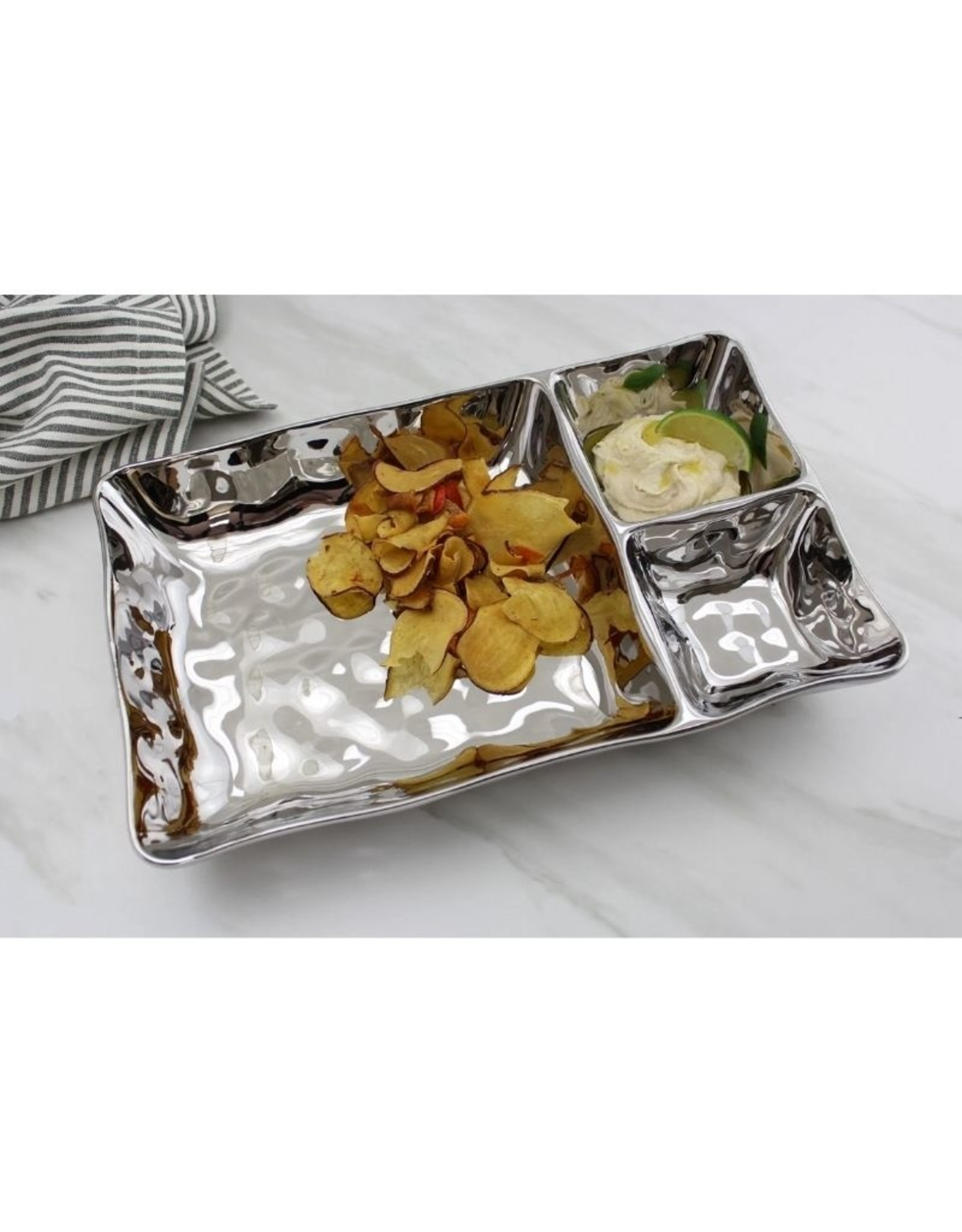 3 Section Rectangular Server- Silver