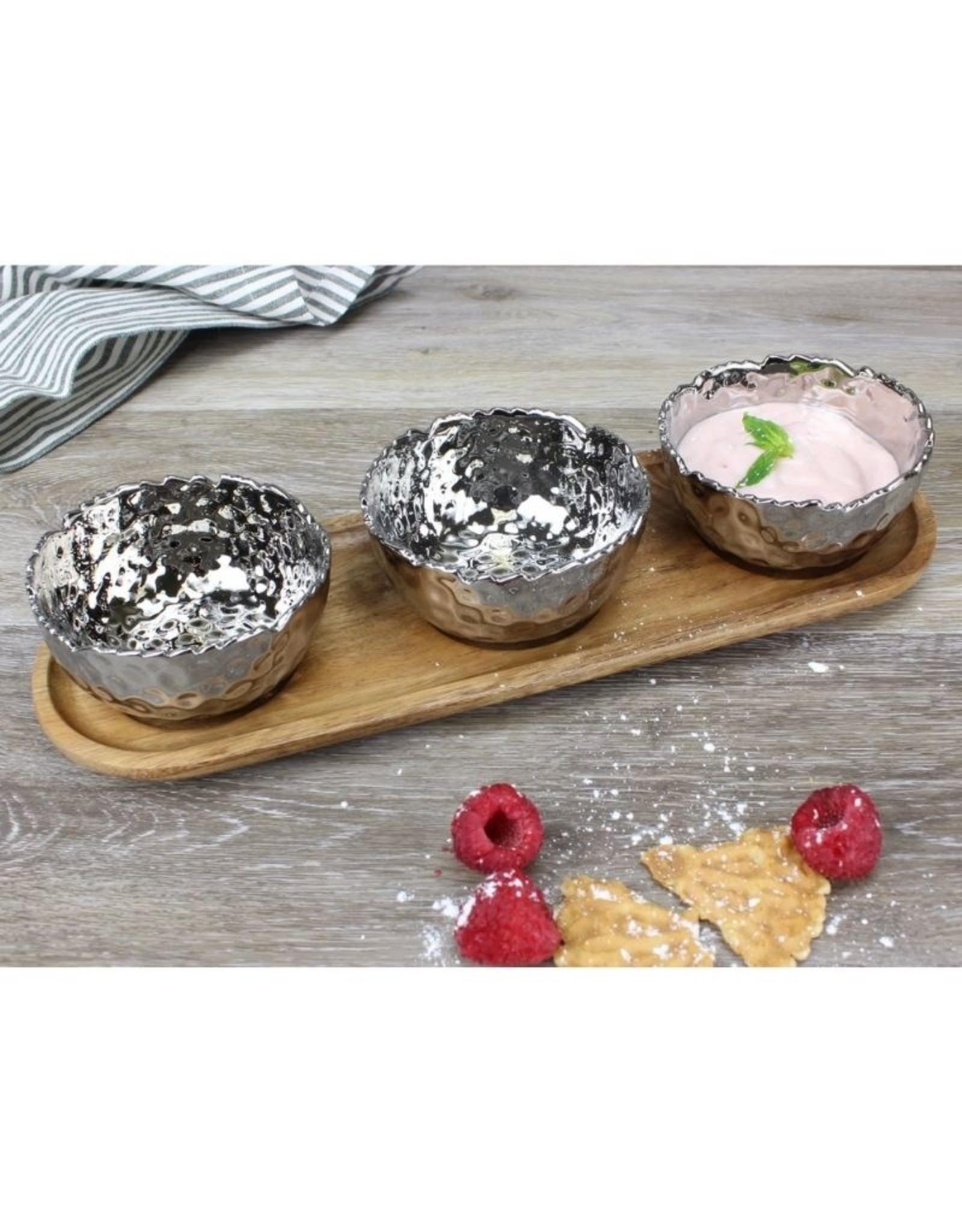 Pampa Bay Set Of 3 Porcelain Bowls on Acacia Wood Tray