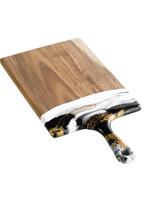 Large Acacia Resin Cheeseboard   Black/ White/ Gold