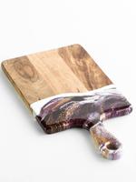 Small Acacia Resin Cheeseboard   Raspberry/White/Gold