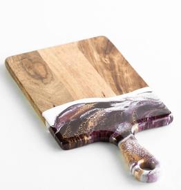 Small Acacia Resin Cheeseboard | Raspberry/White/Gold