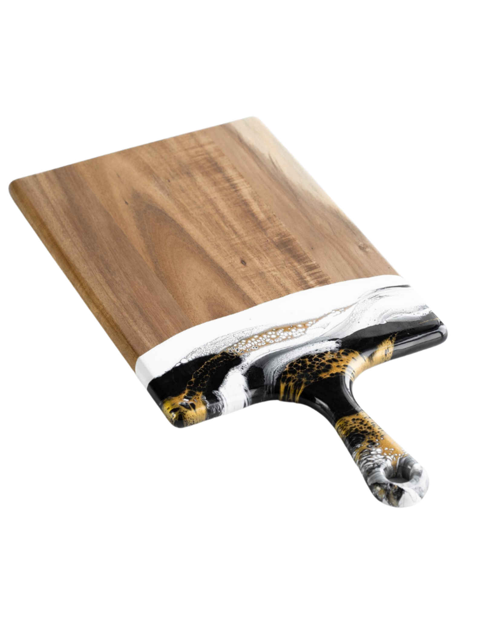 Small Acacia Resin Cheeseboard | Black/White/Gold