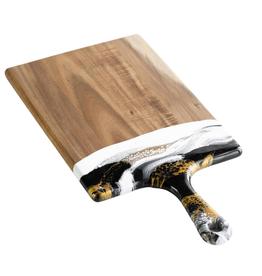 Small Acacia Resin Cheeseboard | Black/White/Gold