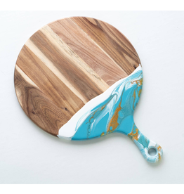 Round Acacia Cheeseboard | Teal/White/Gold